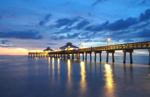 Naples pier sunset lights